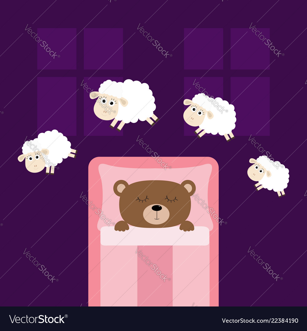 Cute sleeping bear jumping sheeps cant sleep