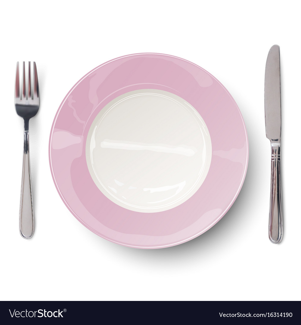 Empty plate in rosy design with knife and fork