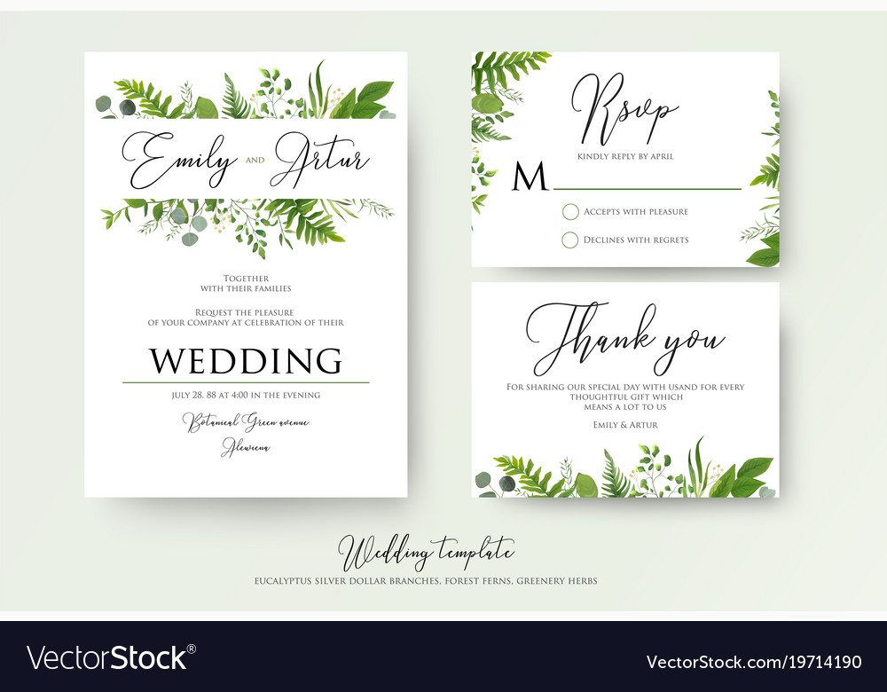 Greenery Fl Wedding Invitation Thank You Cards Vector Image