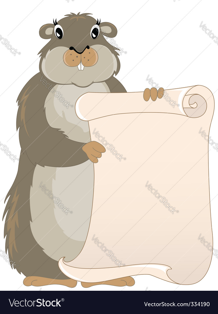 Groundhog with scroll vector image