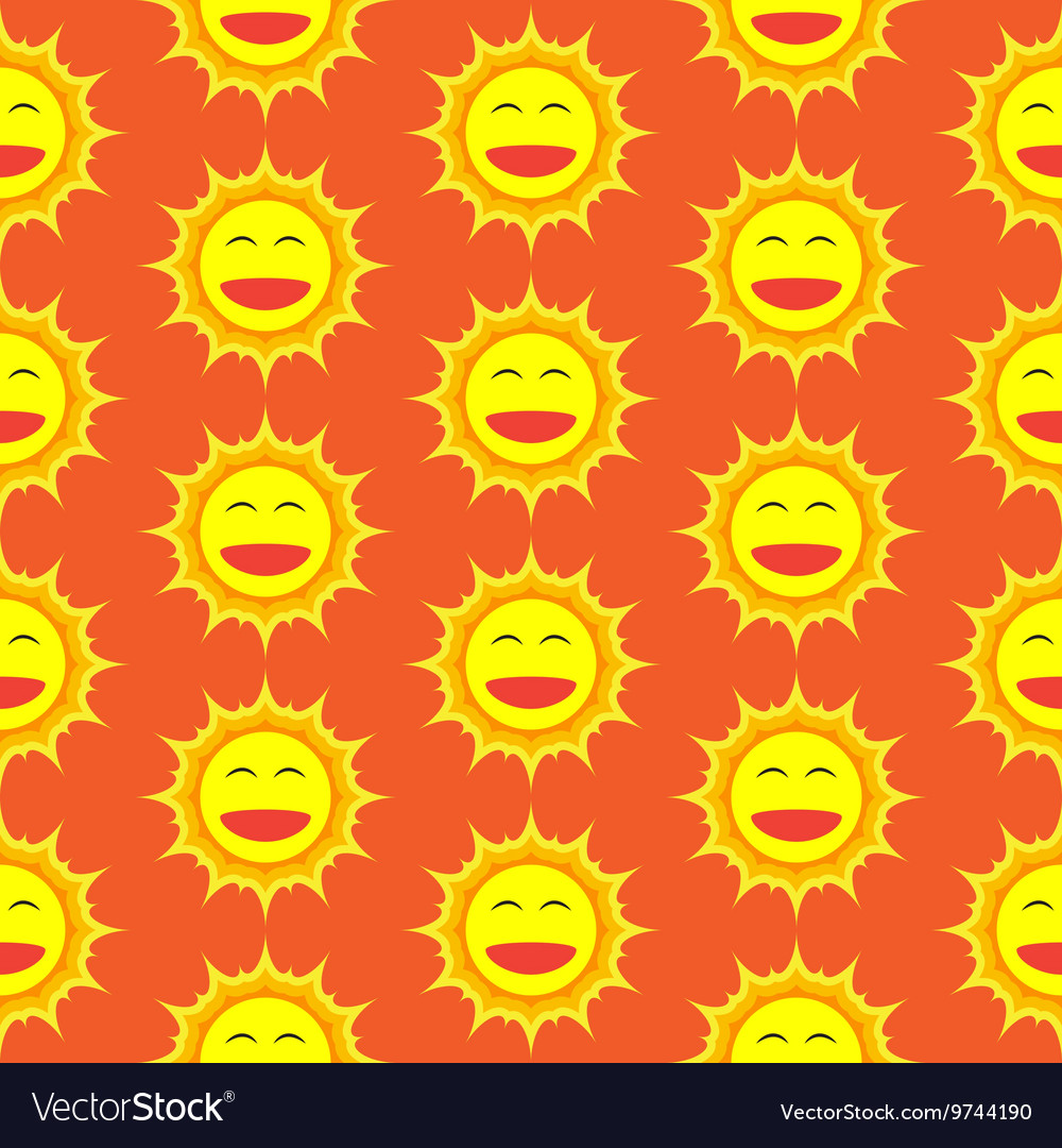 Happy Sun Cartoon Seamless Pattern