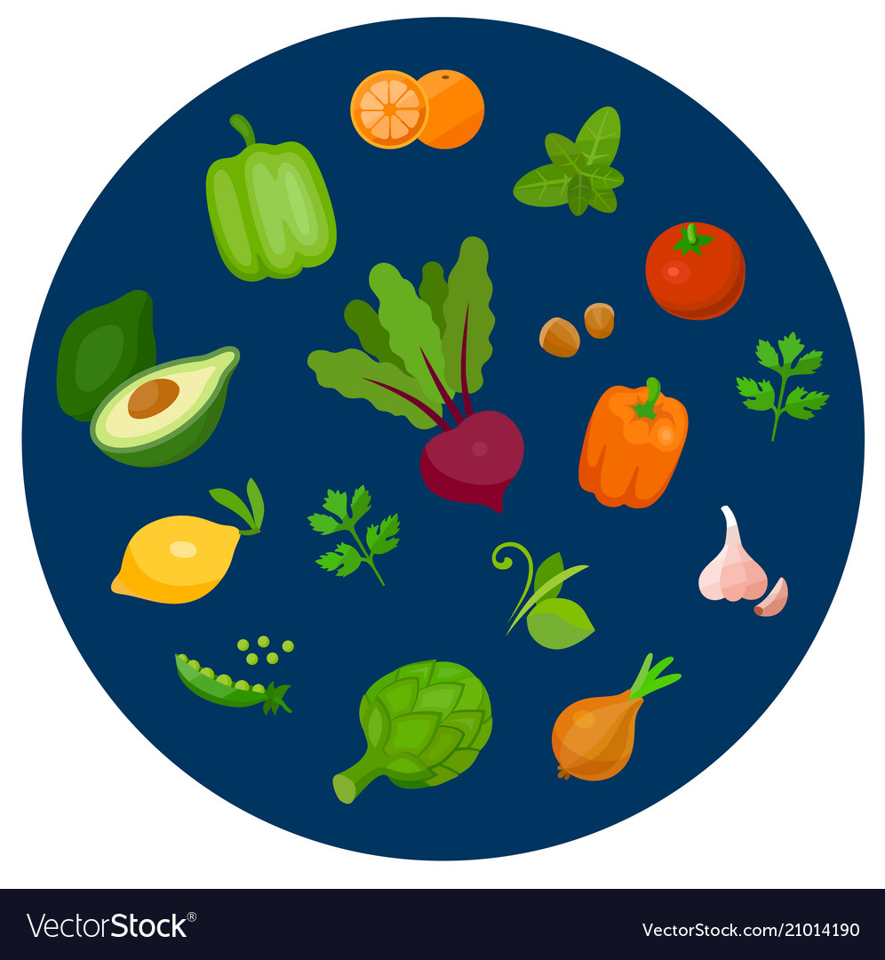 Health food icons in a flat style