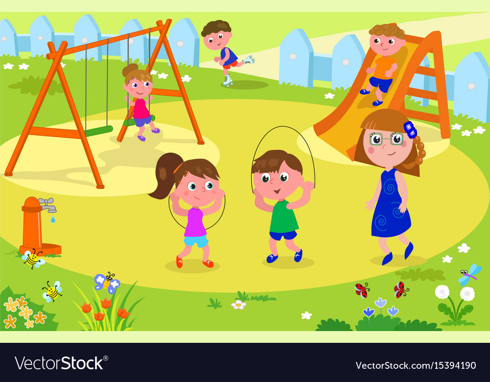 Kids playing at the park with adult