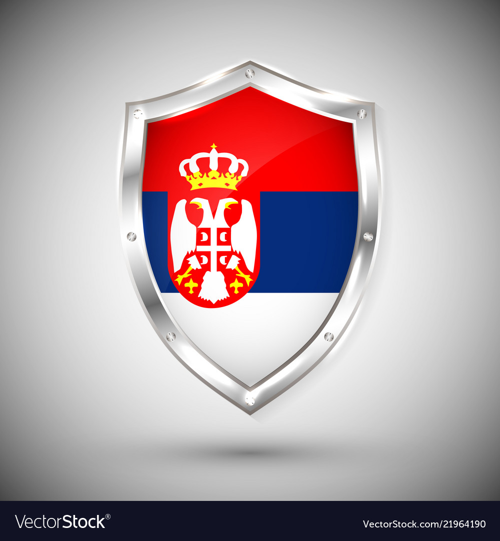 Serbia flag on metal shiny shield collection of