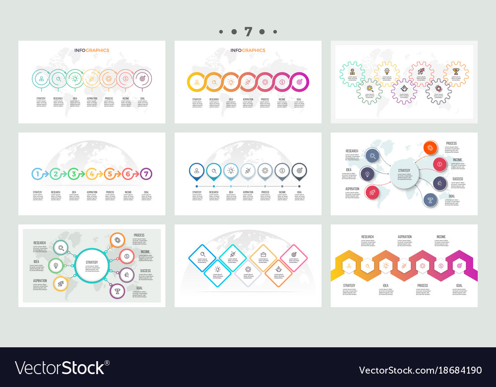 Set of infographic elements presentations graphs vector image