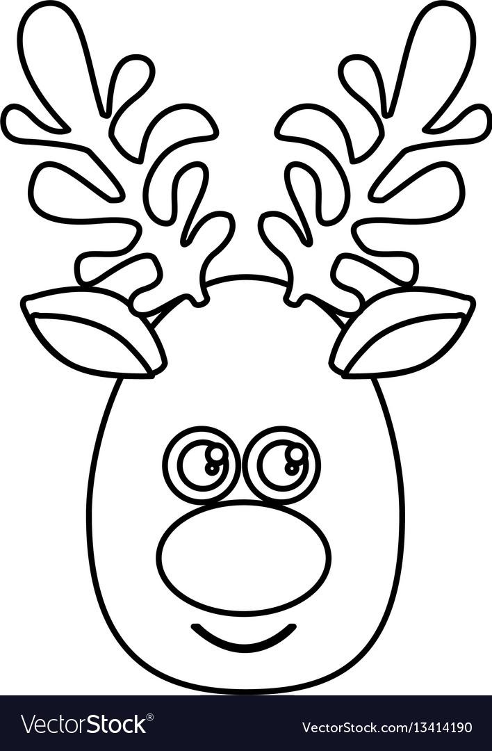 Silhouette cartoon cute face reindeer animal