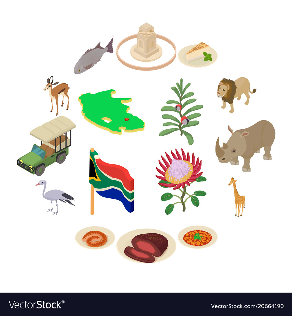 south africa travel icons set isometric style vector image