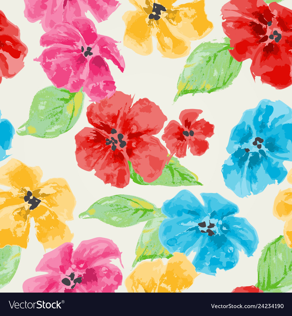 Watercolor floral seamless pattern in bright