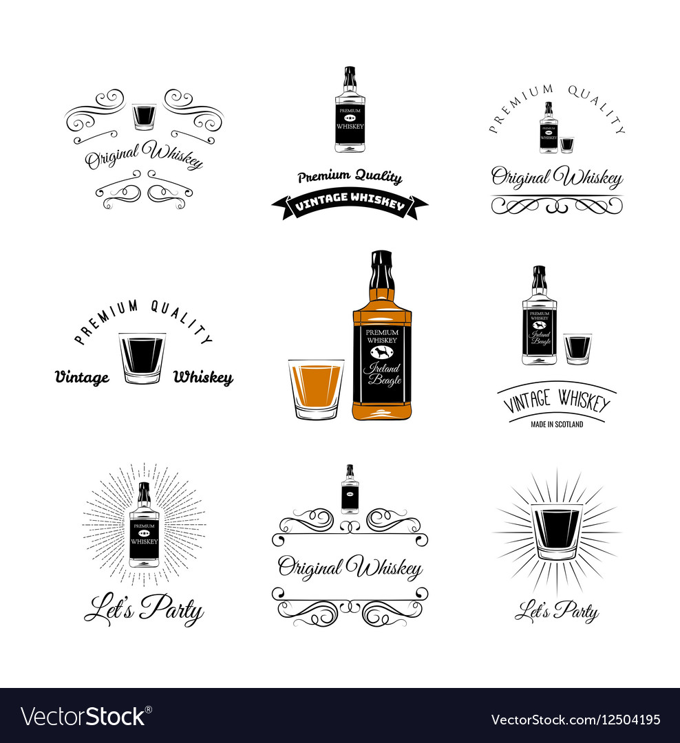 Bottle and Glasses Alcohol Elements Tequila