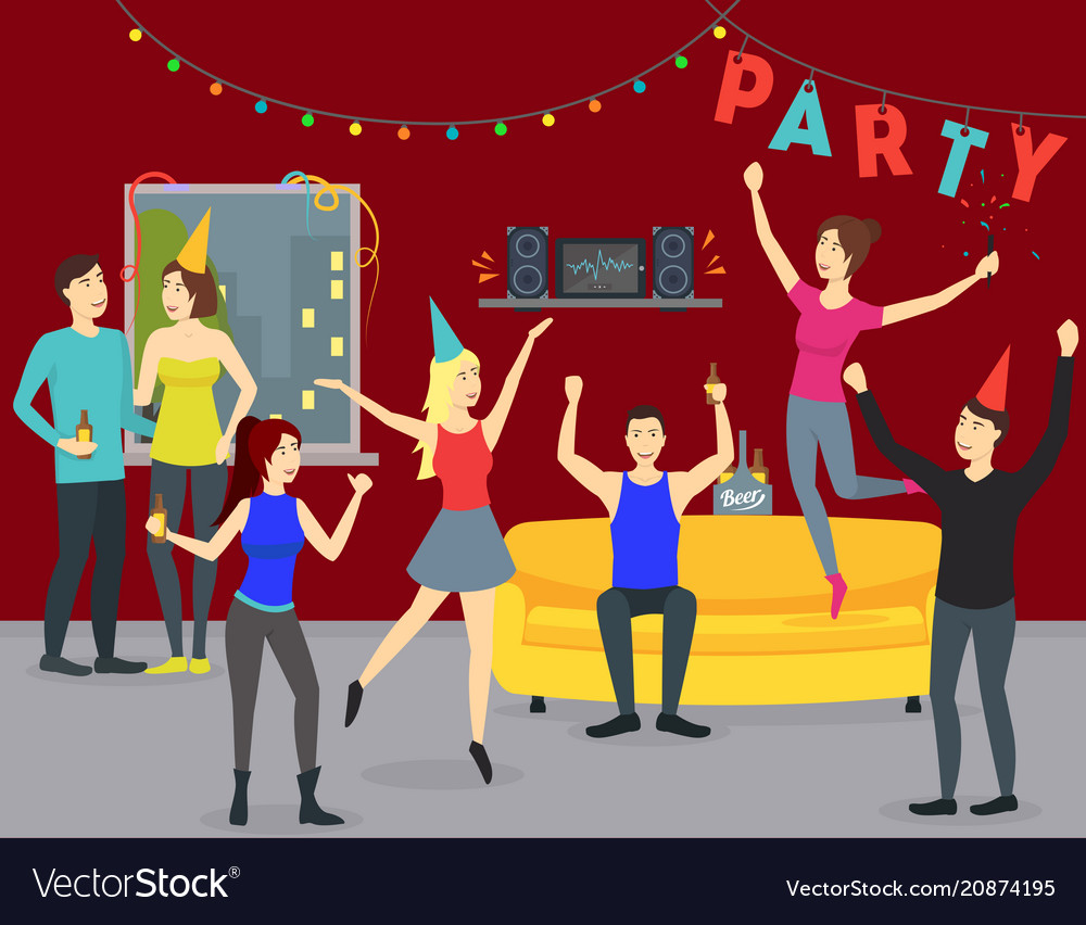Cartoon happy people in party at home concept