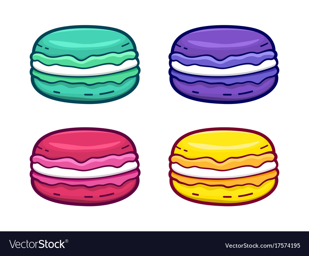 Colorful macaroon icons set isolated on white