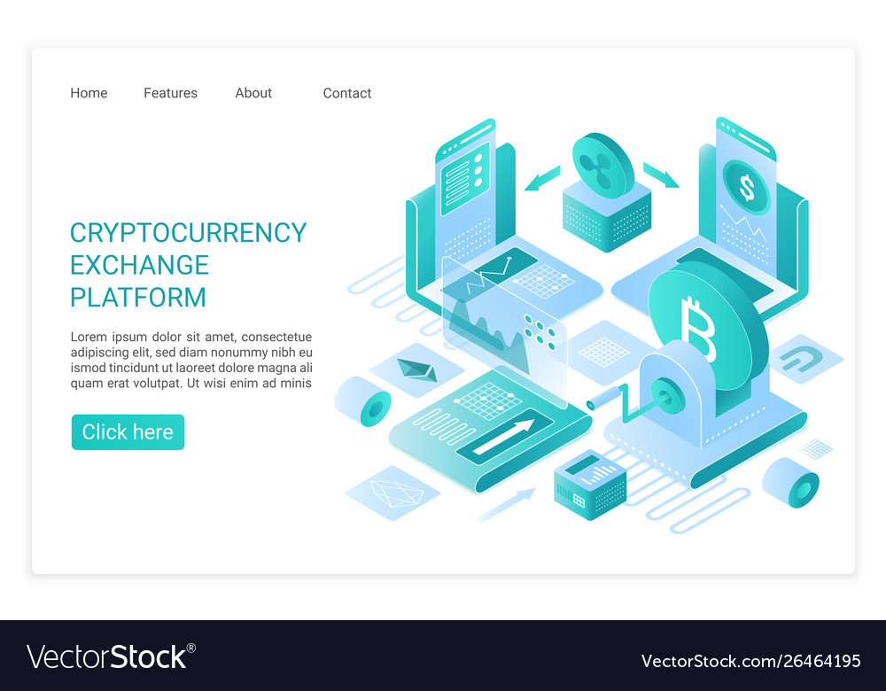 Cryptocurrency exchange platform landing page