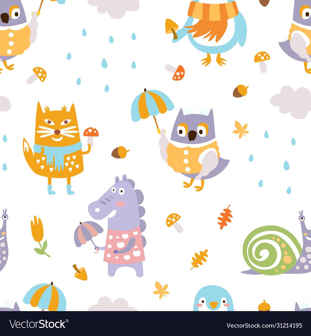 Cute animals seamless pattern bright childish