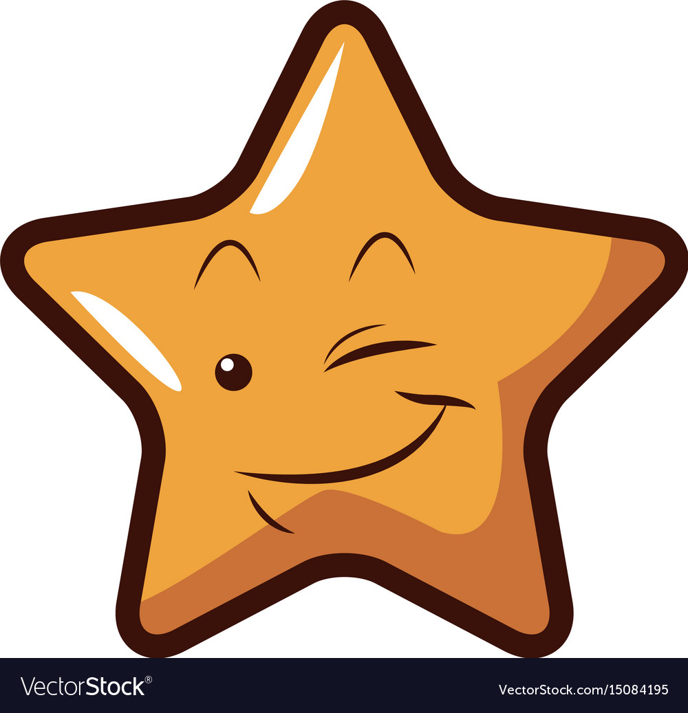 Cute kawaii star face emoticon character