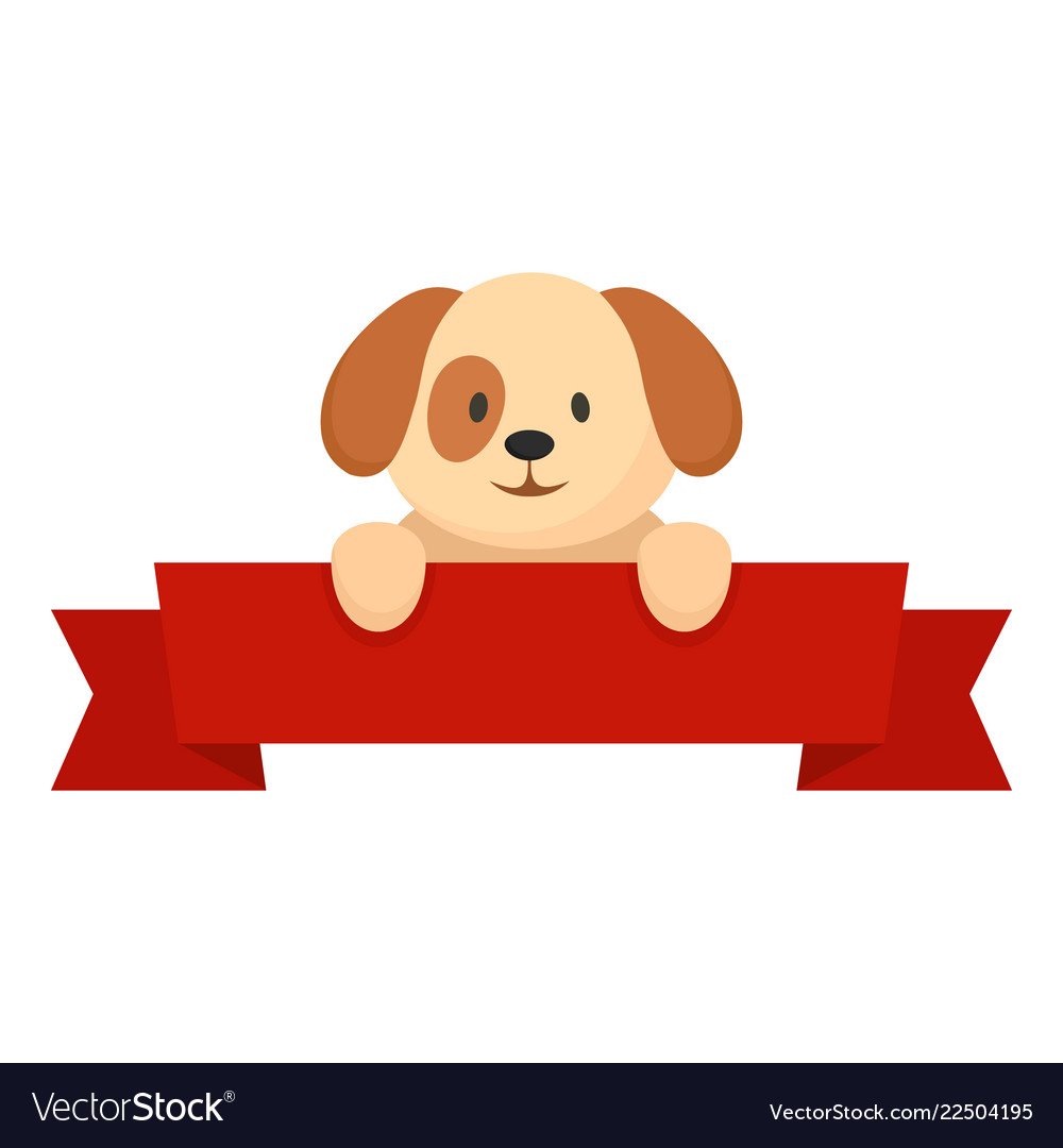 Dog on red banner icon flat style