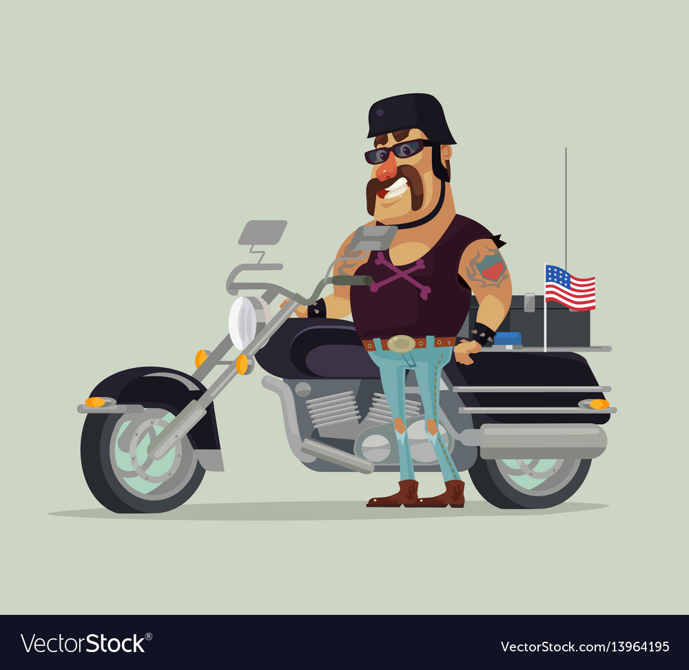 Fat old happy smiling man biker character standing
