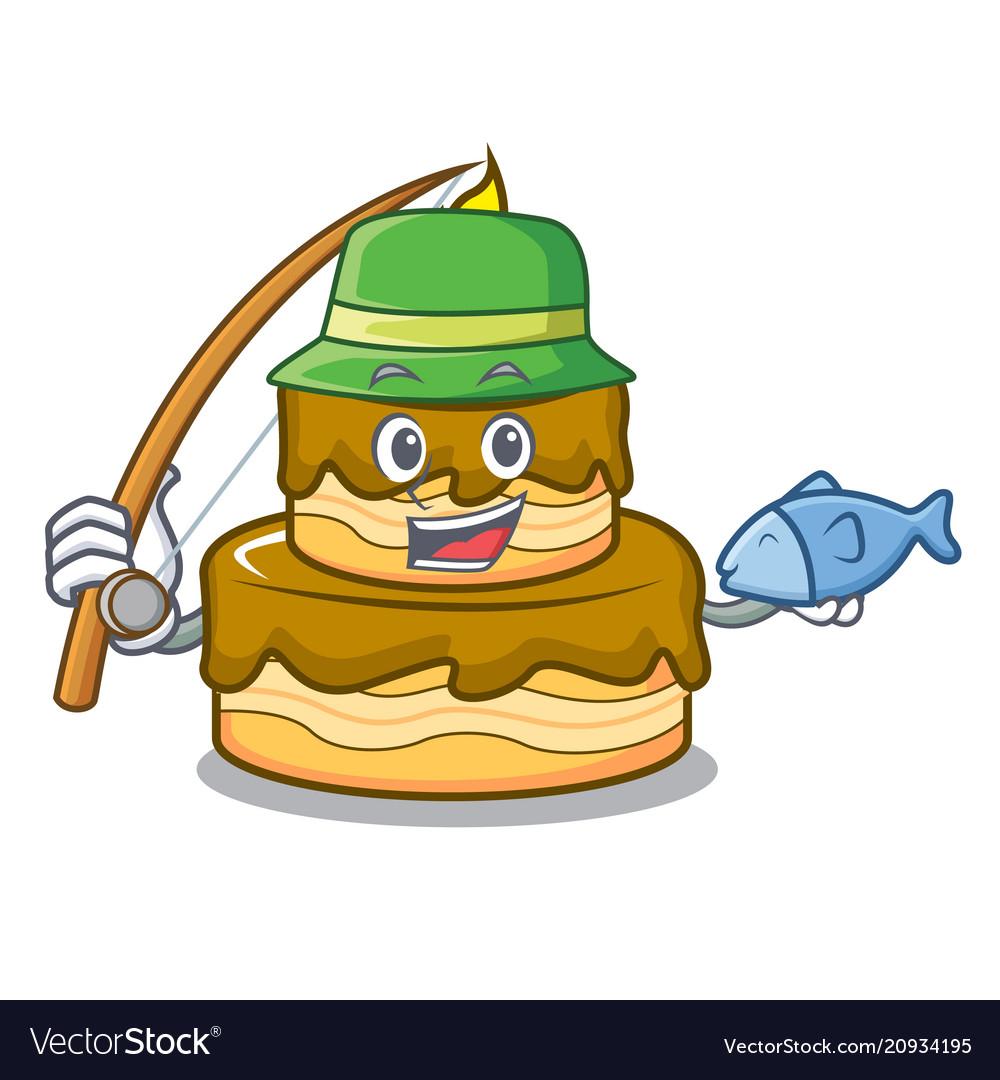Remarkable Fishing Birthday Cake Mascot Cartoon Royalty Free Vector Funny Birthday Cards Online Elaedamsfinfo