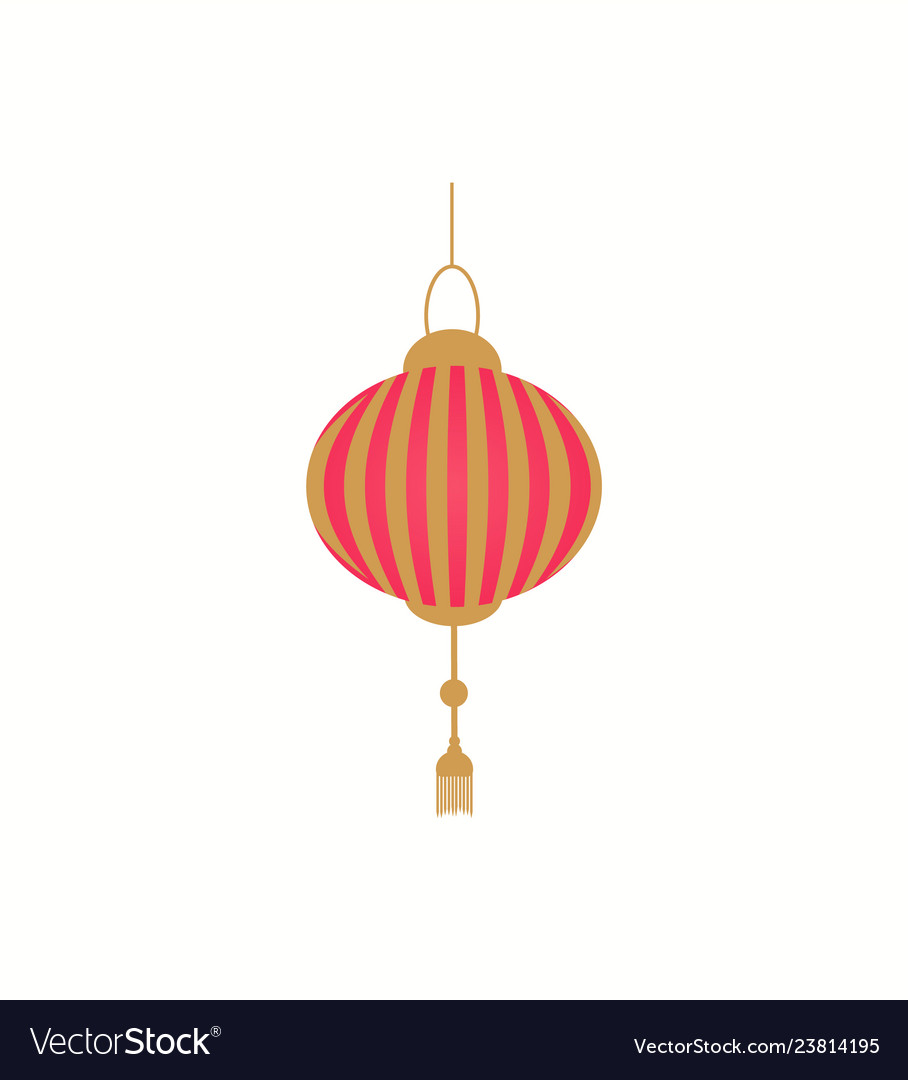 Lantern in red and gold color isolated icon