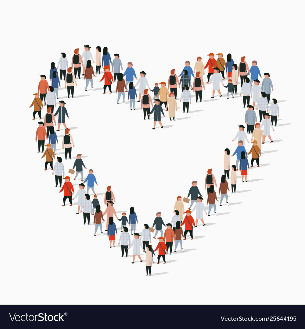 Large group people in heart sign shape