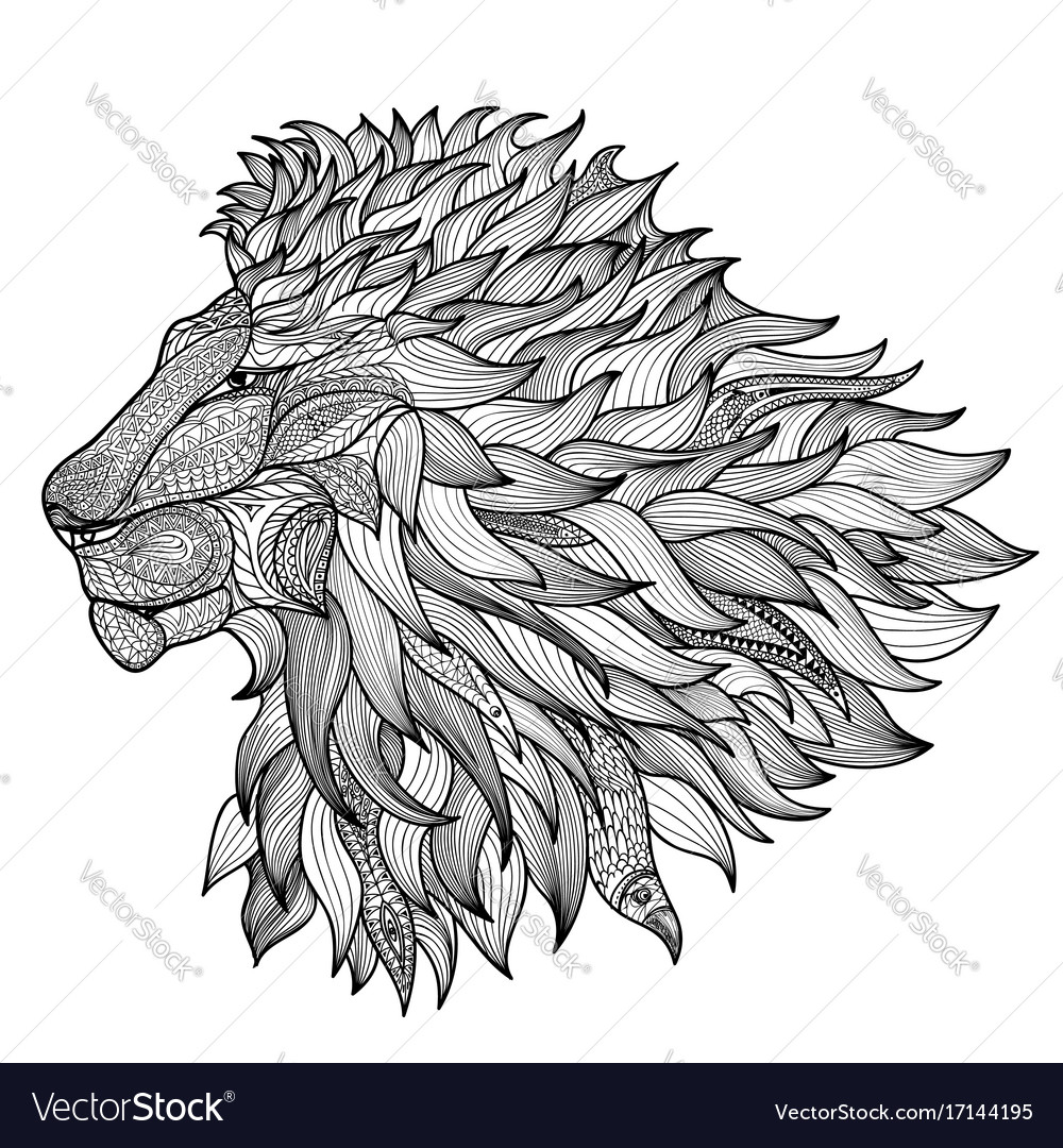 Lion face isolated king animal patterned line