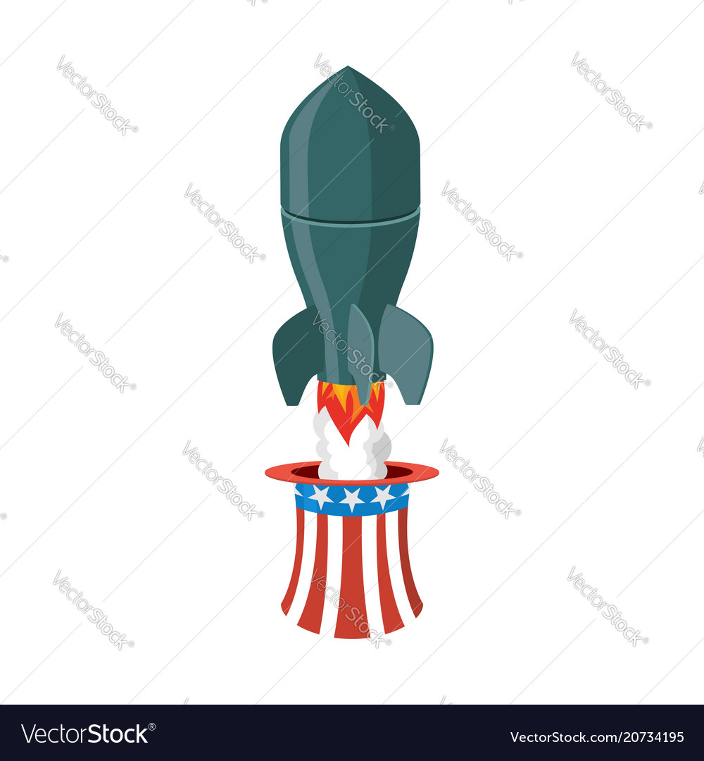 Missile usa rocket fly of hat uncle sam american vector image