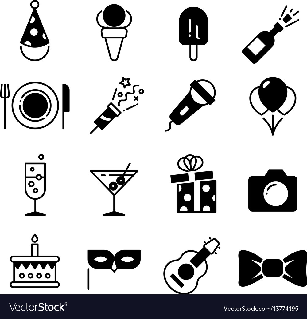 Party and wedding event fun icons