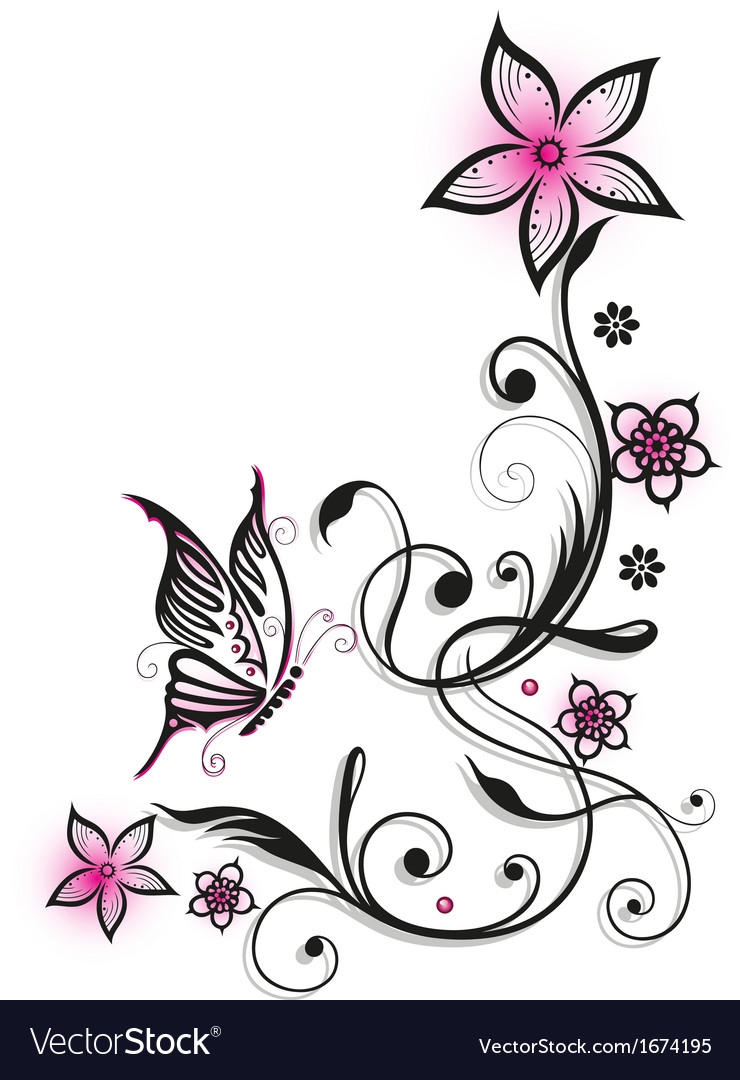 Pink And Black Flowers Royalty Free Vector Image
