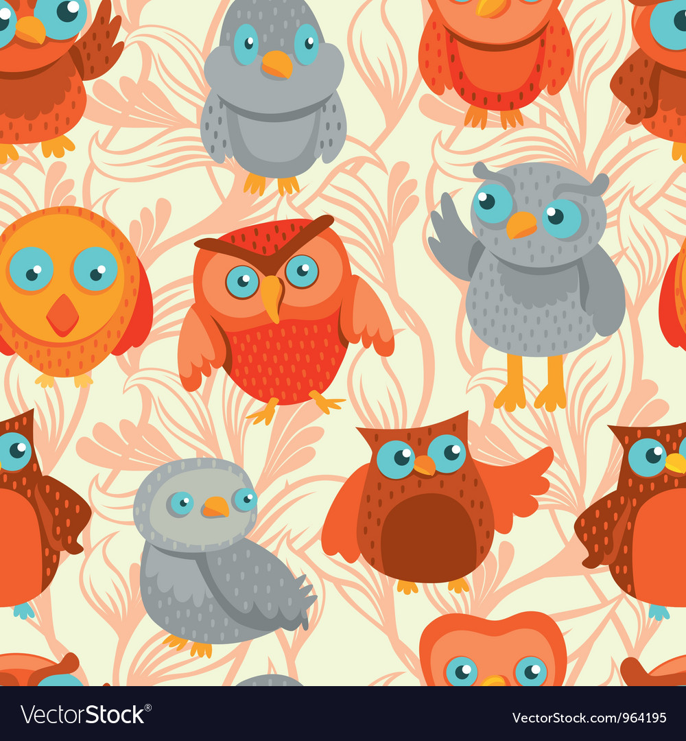 Seamless pattern with cute bright owls