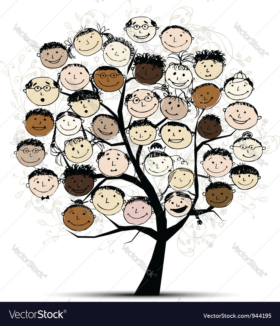 Tree with people faces for your design