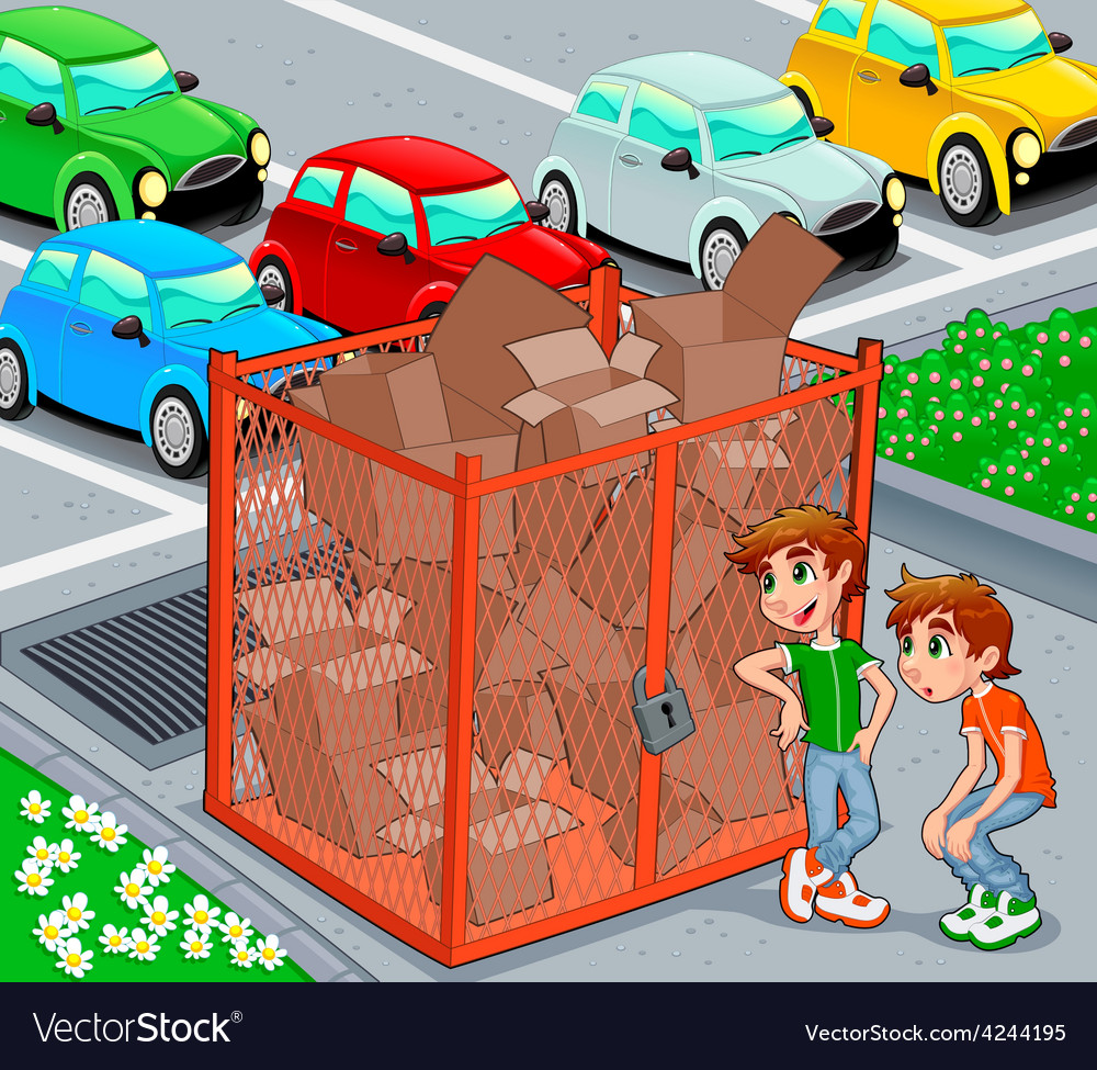Twins are near a recycling cage