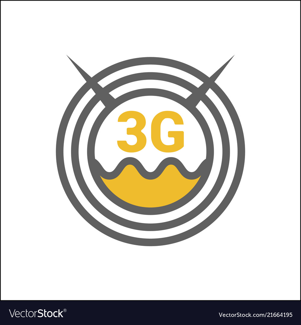 Unusual flat 3g logo icon with geometric pattern