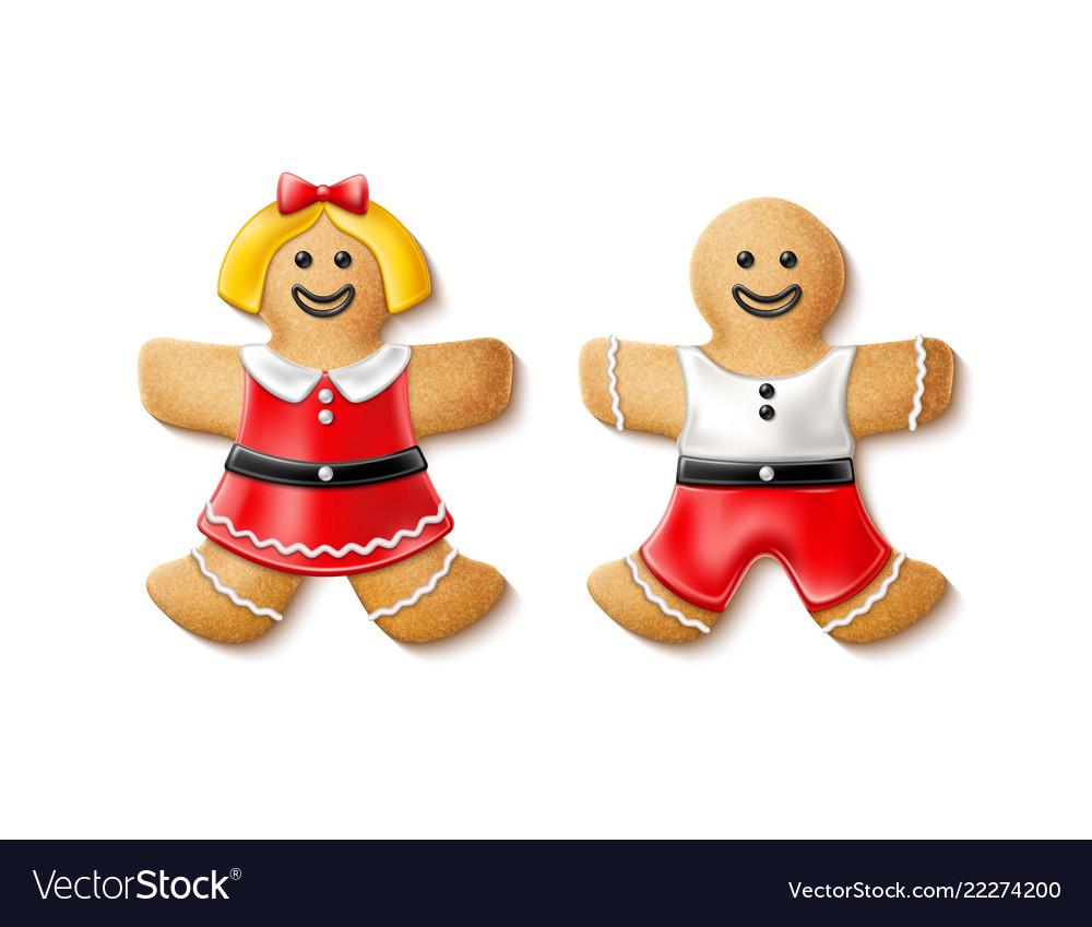 3d gingerbread realistic man woman xmas