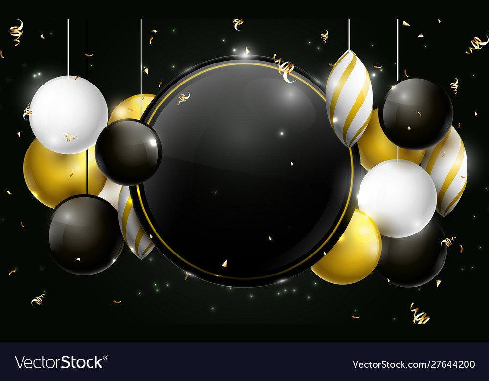 Black gold and white christmas balls background