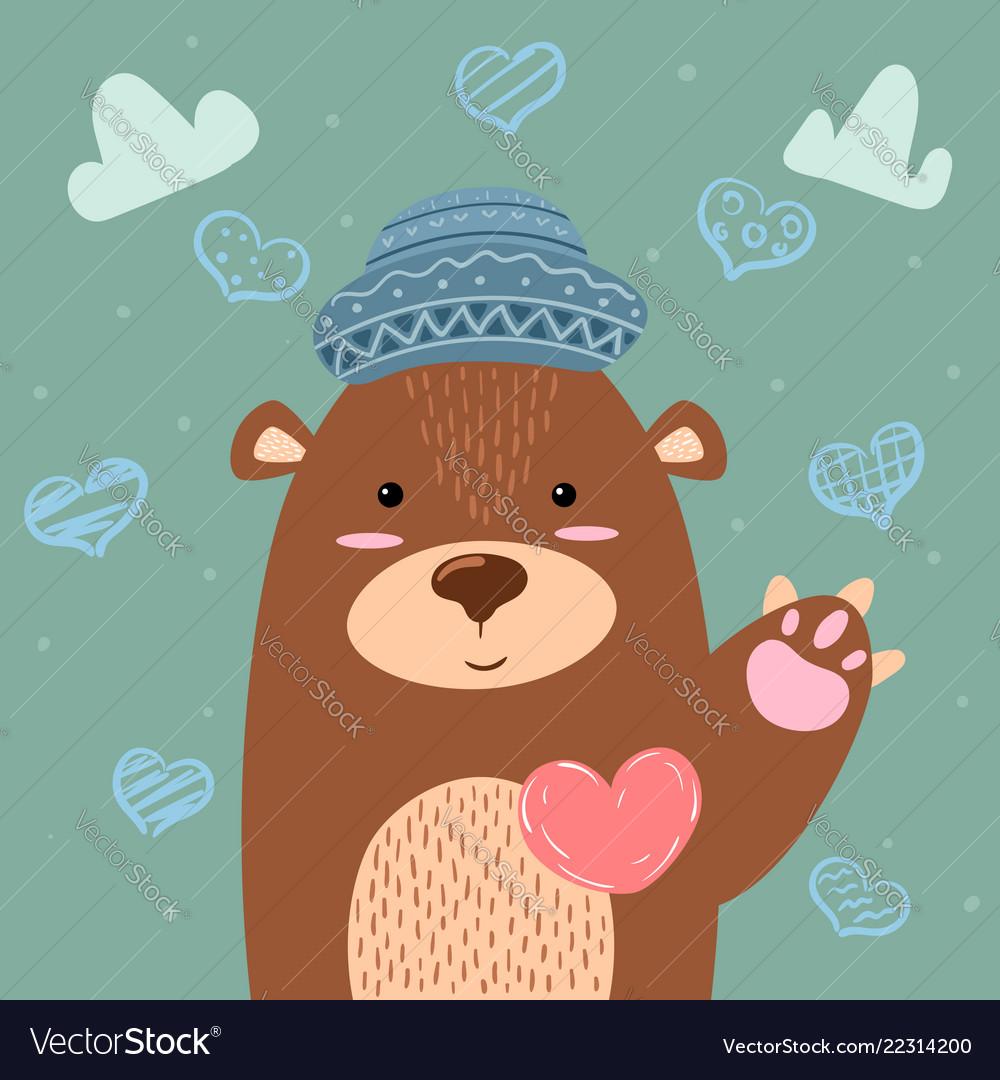 Brown bear - cute heart and love