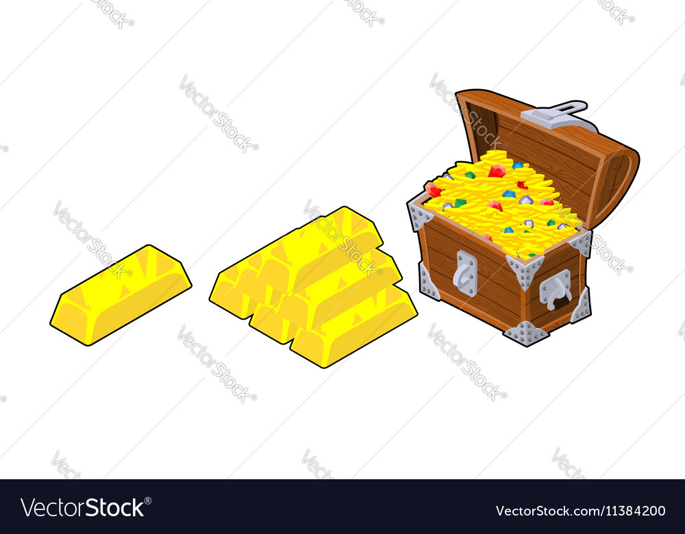 Chest with gold Golden bullion Piece of precious vector image
