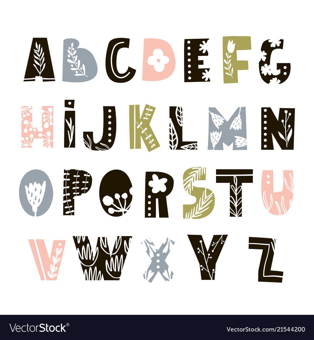 Creative decorative alphabet with floral elements