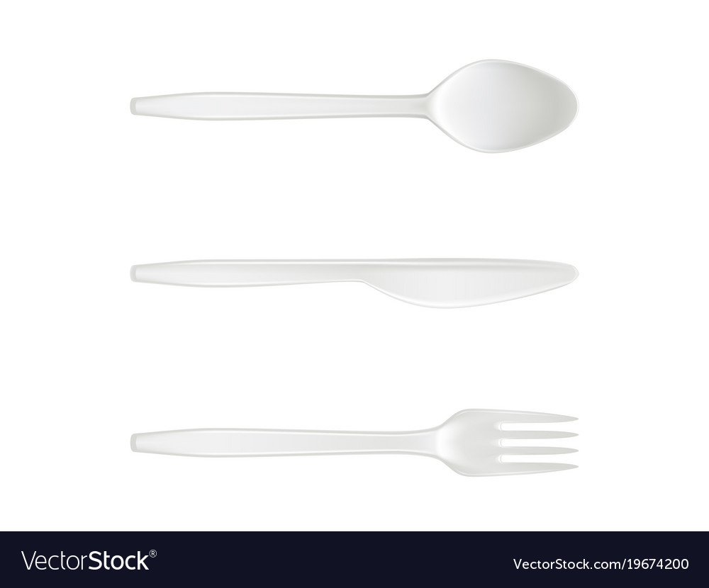 Disposable Plastic Spoon Knife And Fork Royalty Free Vector