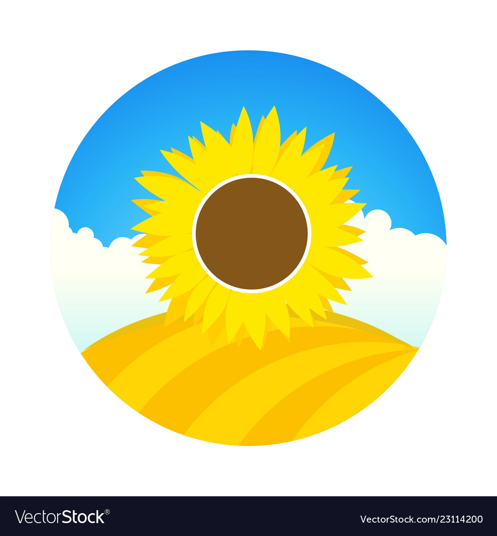 Farm field with sunflower - emblem round
