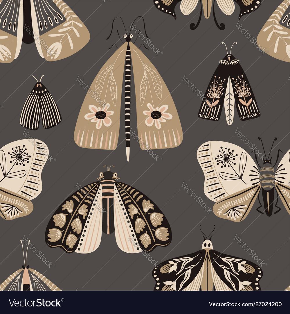 Folk art seamless pattern with moths