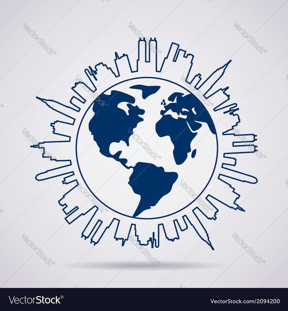 Global panorama vector image