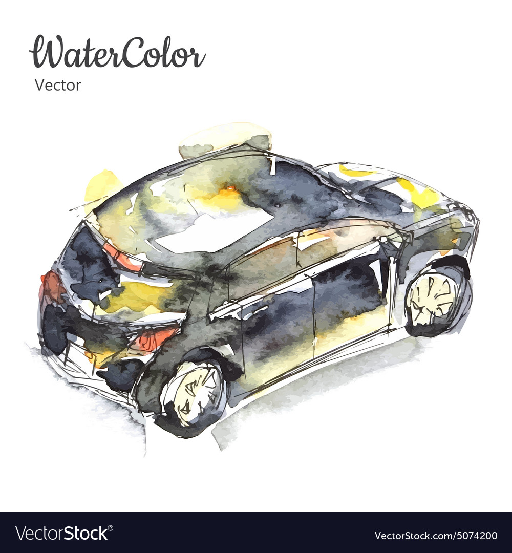 Hand painting abstract watercolor car