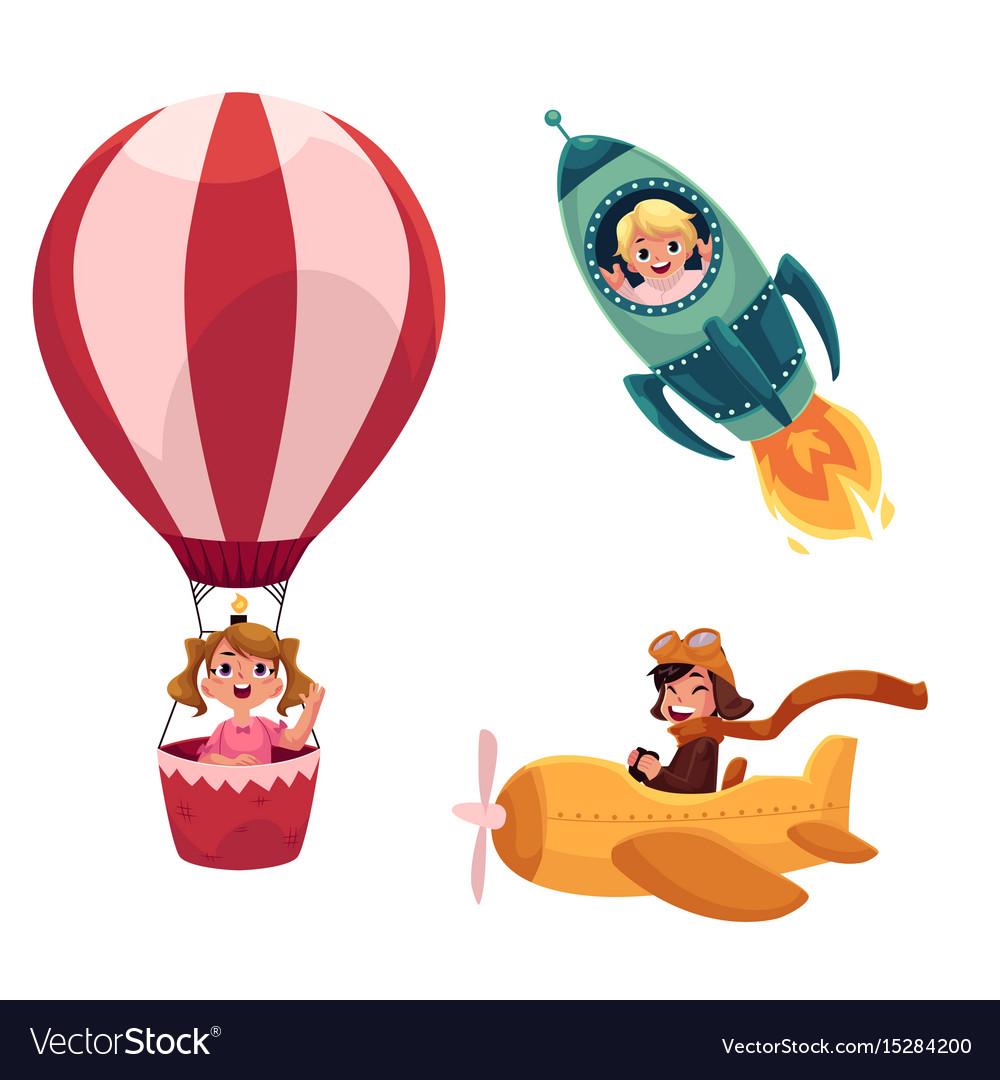 Kids children flying in aircrafts - plane rocket vector image