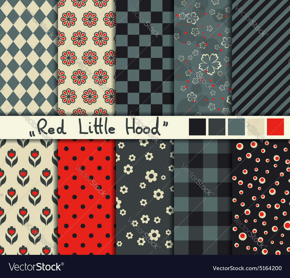 Set of 10 simple seamless patterns