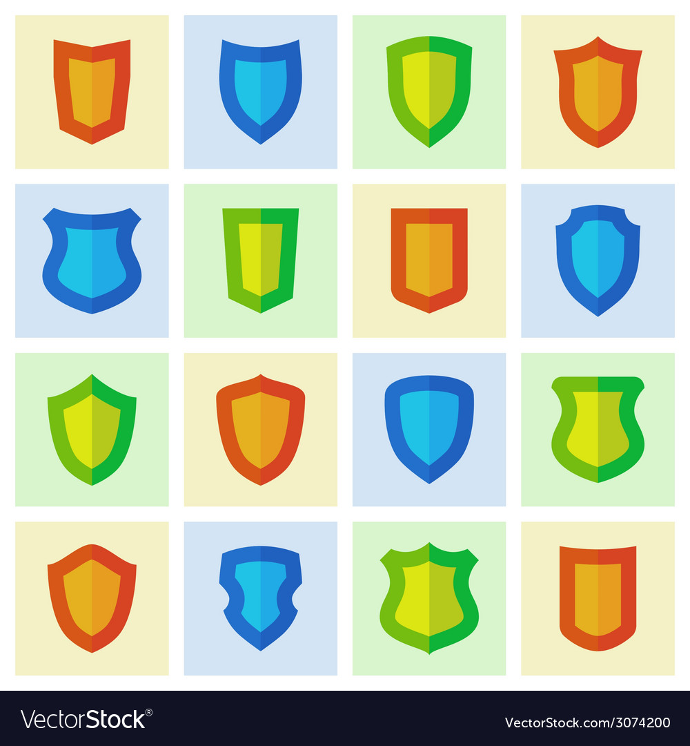 Set of different shield shapes icons
