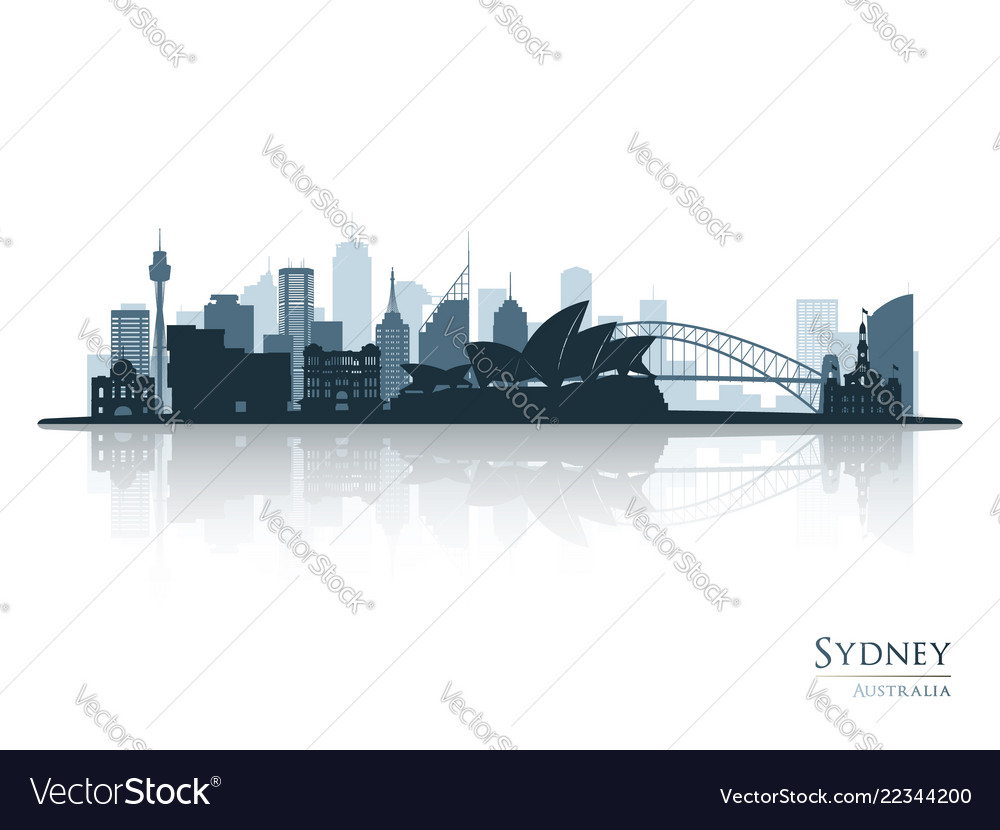 Sydney blue skyline silhouette with reflection