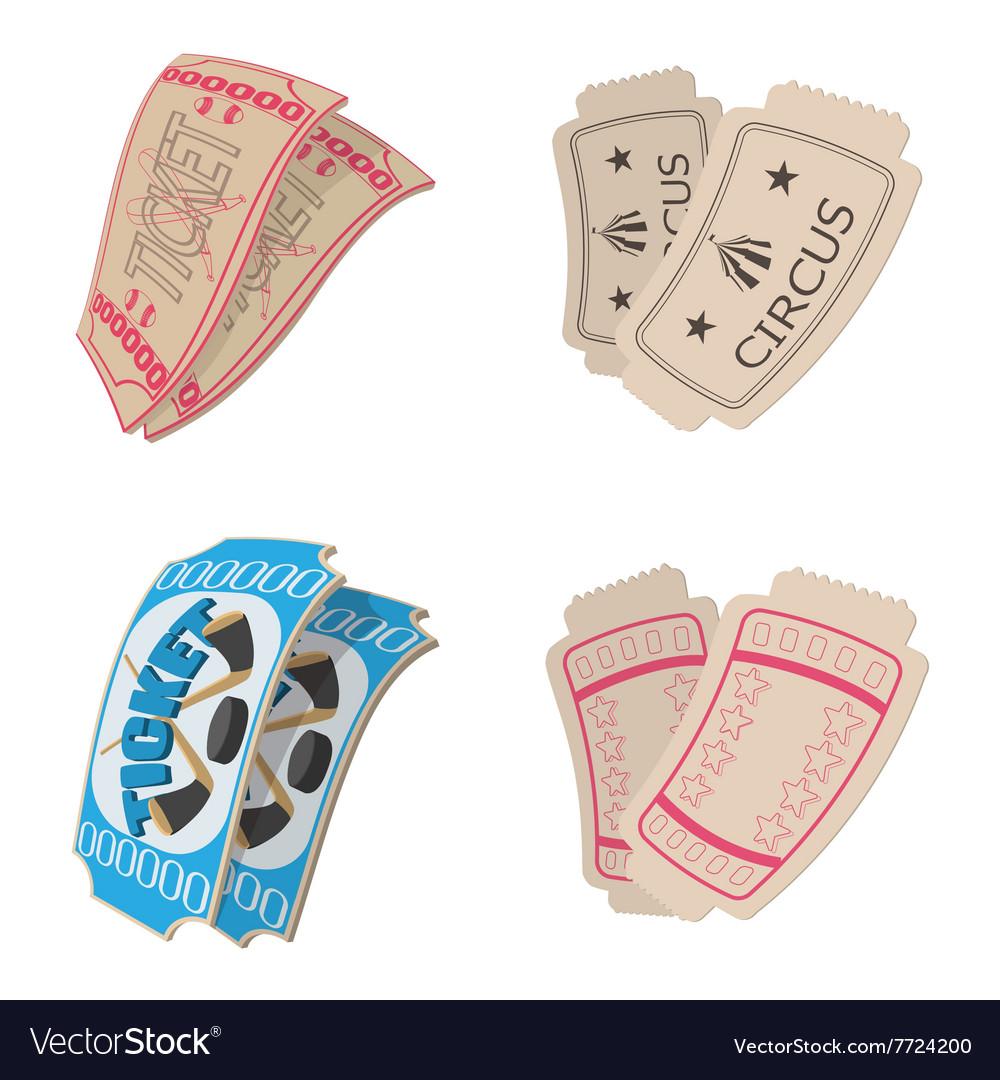 Ticket icons set cartoon style