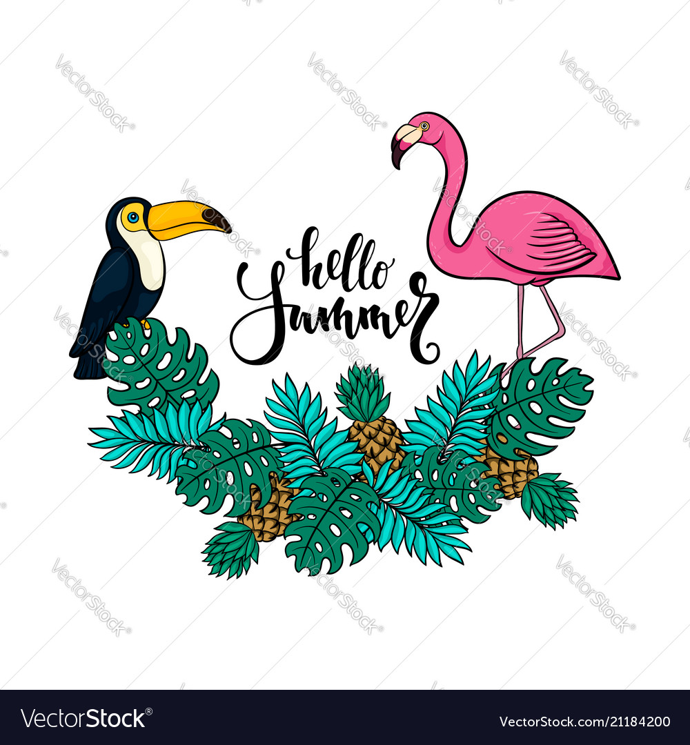 Tropical summer with pink flamingo