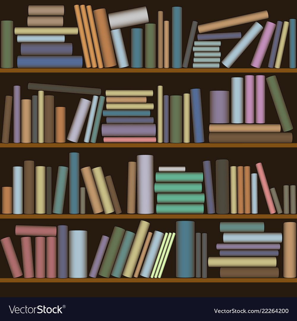 Wooden bookcase with bright and colorful books