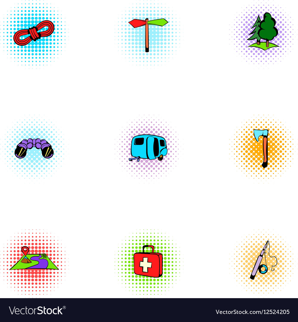 Camp icons set pop-art style vector image