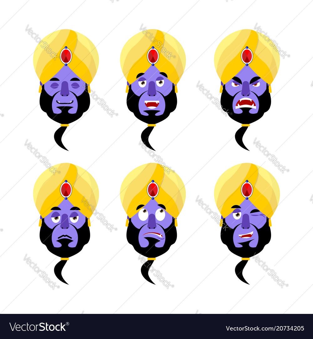 Genie emoji emotion set aggressive and good magic vector image
